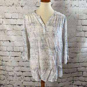Lila Rose Pullover Print Office Career Blouse XL